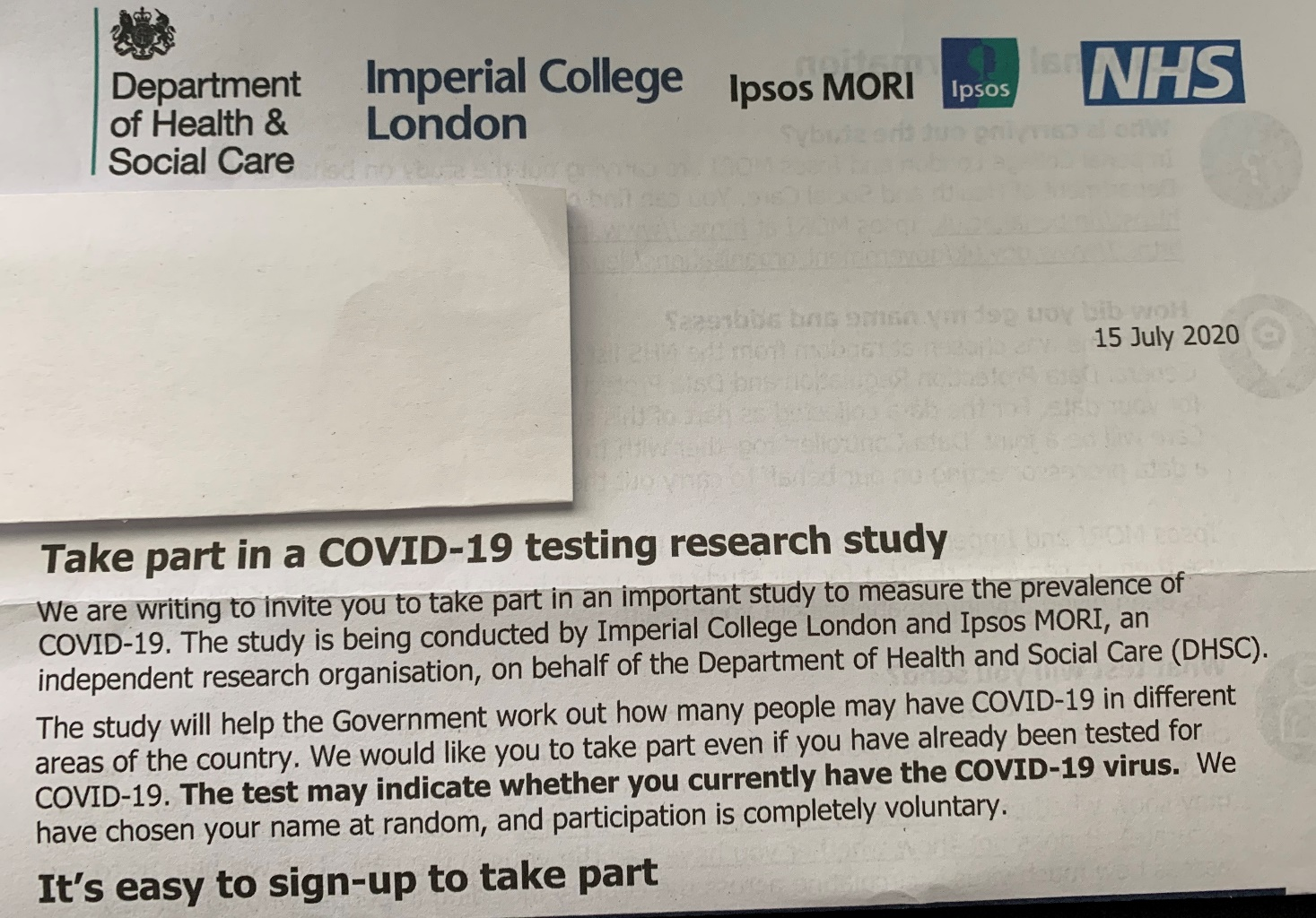 COVID-19 TESTING RESEARCH STUDY - The Haemophilia Society
